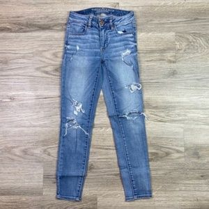 {AEO} Distressed Jegging Ankle Jean Sz 0